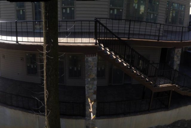 aluminum railing for steps are nighttime