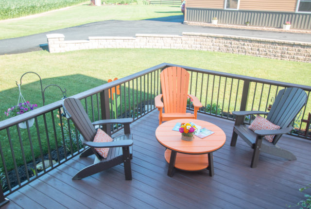 aluminum railing installation around a pennsylvania deck