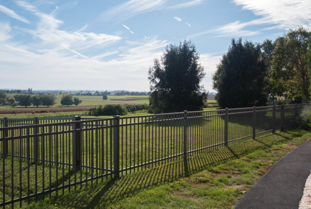 custom black aluminum fence for commercial business