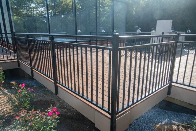 black aluminum deck railing installers serving homeowners