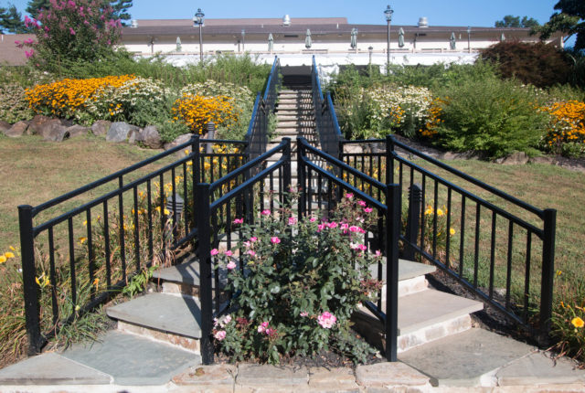 black aluminum railing installation for outdoor staircase
