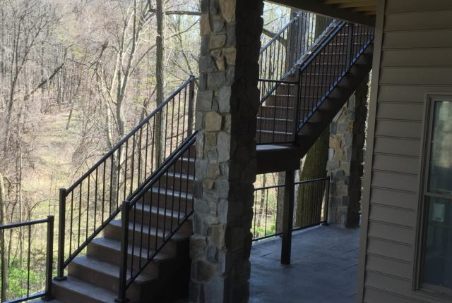 traditional aluminum railing along a residential staircase