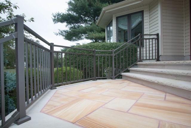 new black powder coated railing