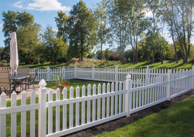 White picket fence in Pittsburgh PA yard