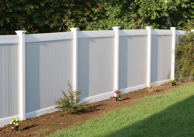 Gray and white privacy fence in Pittsburgh, PA