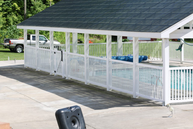 white vinyl pool railing with covered pavilion in Pittsburgh pa