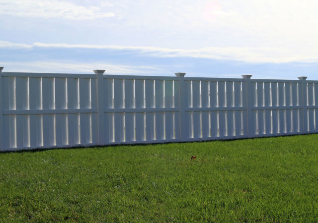 Traditional white vinyl fence installed in Pittsburgh, PA
