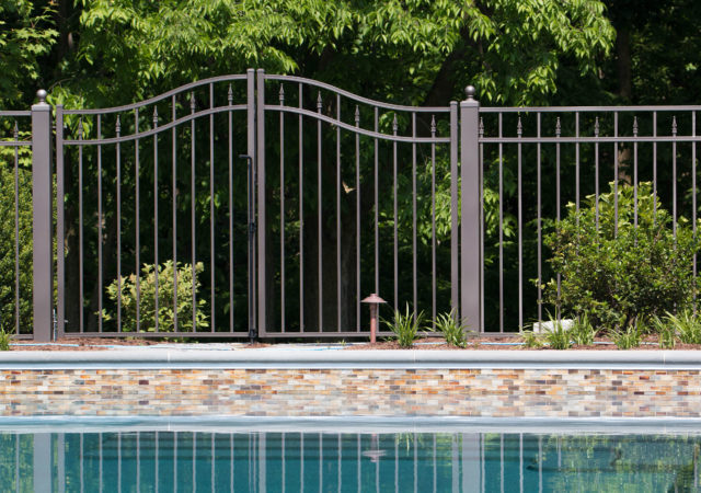 beautiful metal pool fence with gate
