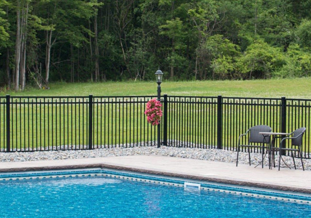 Aluminum backyard pool fence built to code
