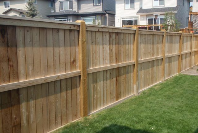 privacy picture frame fence inside facing yard