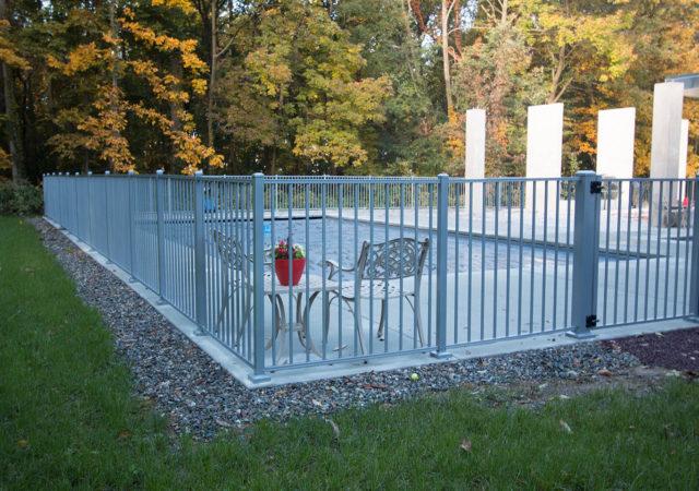 White aluminum pool fence idea