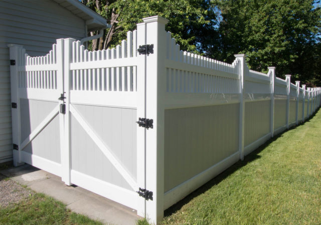 Beautiful Vinyl Privacy Fence with Gray and White