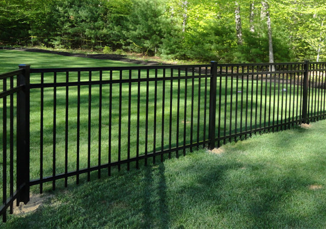 Black aluminum fence in Pittsburgh backyard