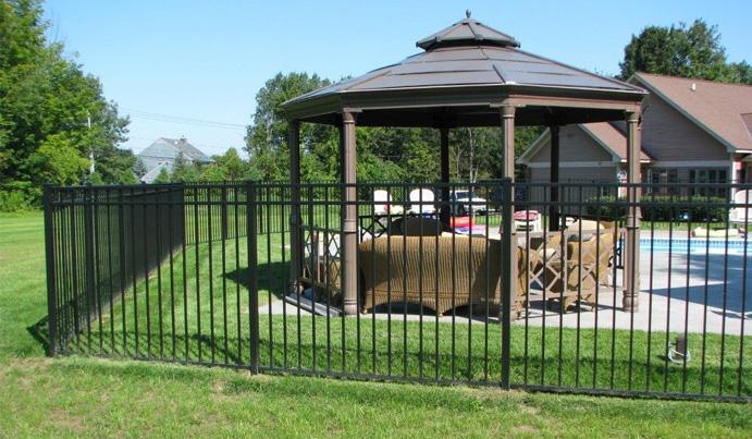 Black aluminum fence and railing
