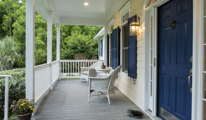 Gray deck boards on front porch makeover