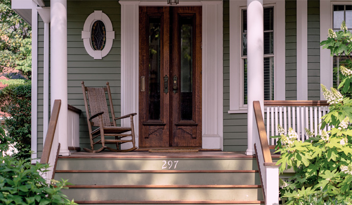 Decorated front porch with numbers