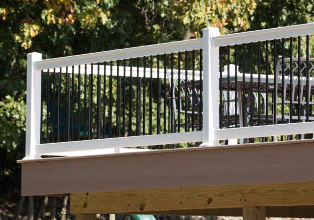 White vinyl deck railing material