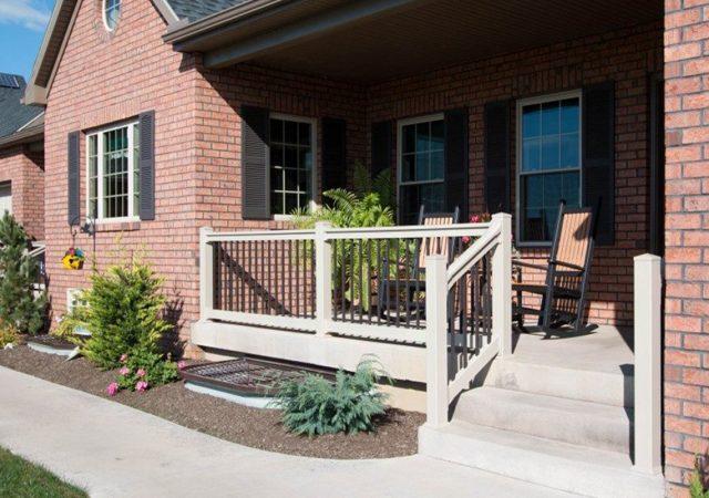 Tan vinyl porch railing