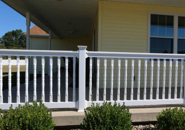 Ornate vinyl railing for porch