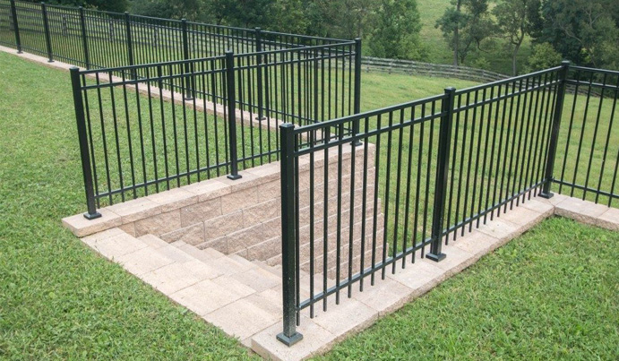 Aluminum railing and fence in backyard