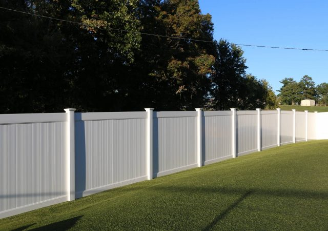 Luxury white residential vinyl fencing