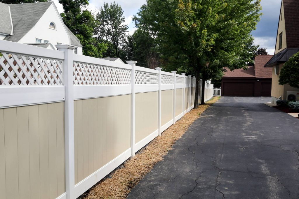Privacy fencing along a drive way
