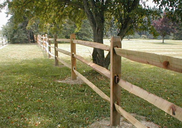 Split rail wooden fence