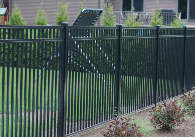 Aluminum fence for child's backyard play time