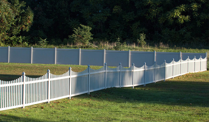 Large vinyl fenced yard