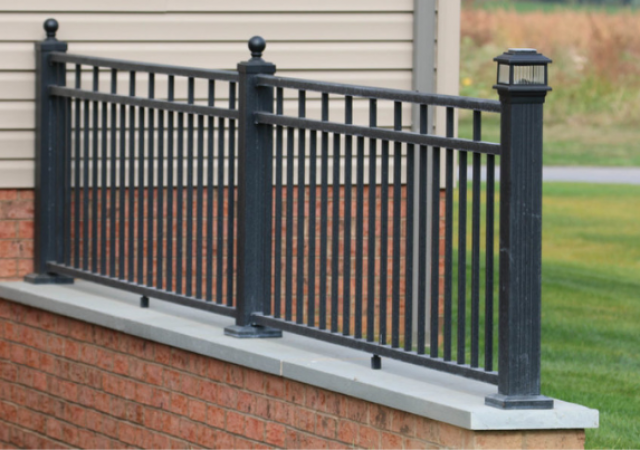 Aluminum railing on cellar walkway