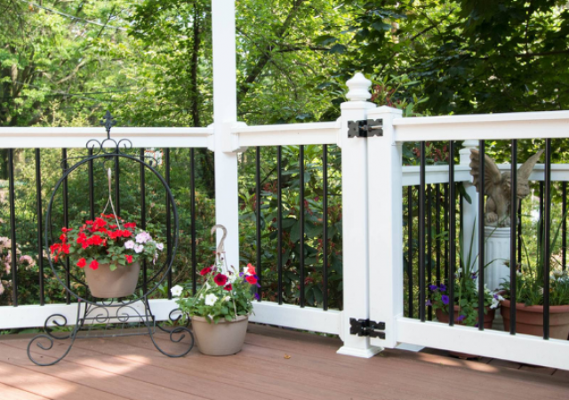 elegant patio area with white railing