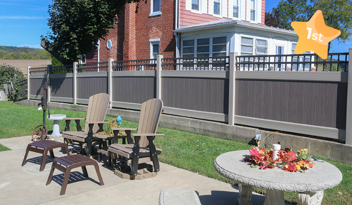 Best fence material installed in backyard with patio