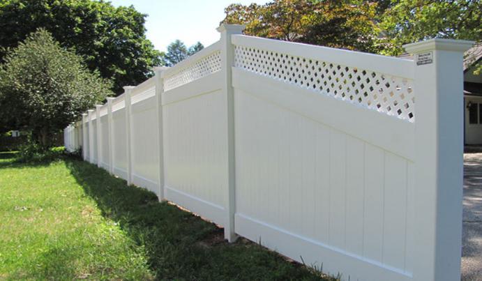 Vinyl fencing on sloped yard