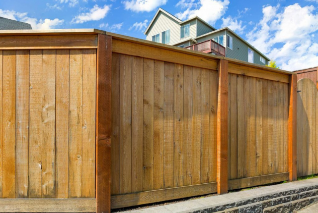 Backyard wooden privacy fence
