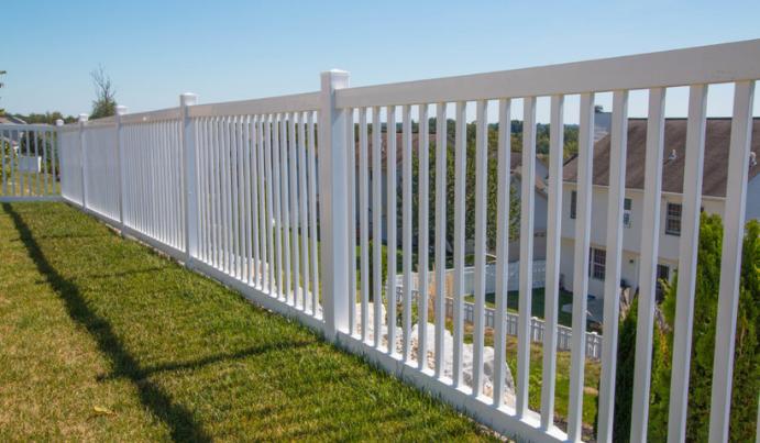 Vinyl contemporary fence for backyard