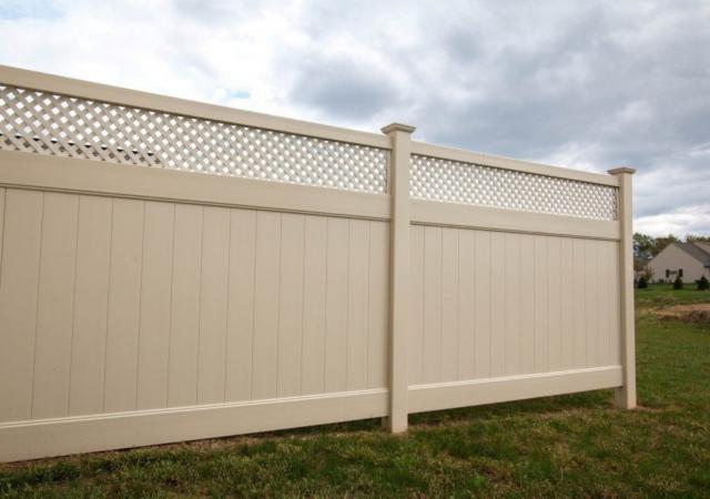 Durable tan vinyl fencing